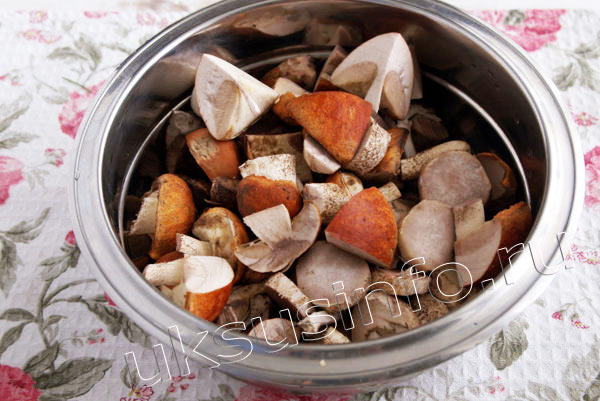 Нашинкованные грибы